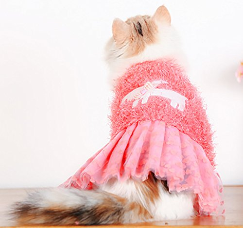 Puss In Boots Cat Costume (MaruPet Fashion Autumn/Winter Overall Press Fleece Elegant Sweety Princess Tutu Jumpsuit Cosplay Outfit Suit for Teddy, Pug, Chihuahua, Shih Tzu, Yorkshire Terriers, Papillon Pink XL)