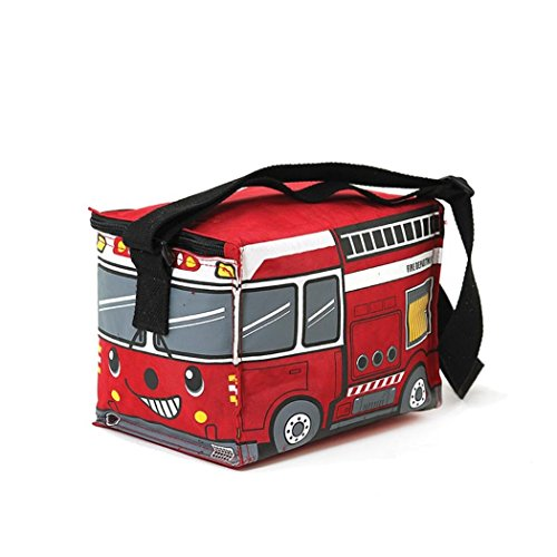 Cute Red Fire Truck Insulated Full Zipper Top Closure Adjustable Handle Lunch Bag Fire Truck Lunch Box