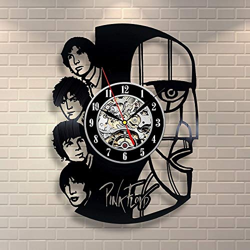 (Pink Floyd Design Wall Clock Made from Used Vinyl Record - Get Unique Room Wall Decor - Gift Ideas for his and her – Unique Rock Music Fan Art)