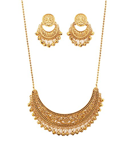 NEW! Touchstone Indian Bollywood Masterly Created Traditional Crescent Half Moon Theme Filigree Work Long Artistic Designer Jewelry Necklace Set In Antique Gold Tone For Women ()