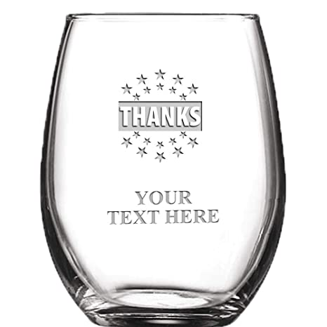 7ea865bd179b Image Unavailable. Image not available for. Color: Thanks Personalized Wine  Glass - 9 oz Custom Soiree Stemless ...
