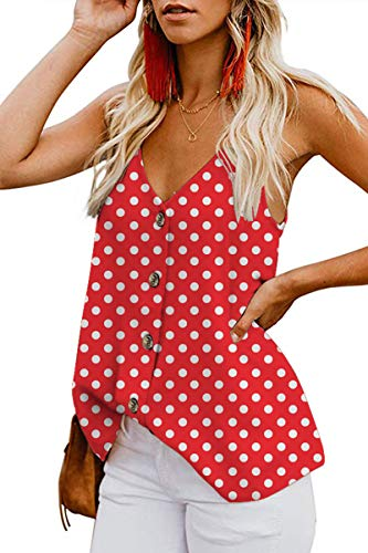 Infinilla Women's Loose V Neck Sleeveless Strappy Tank Top Summer Casual Button Down Shirts Blouses Polka Dot-red