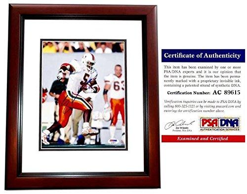 (Edgerrin James Autographed Signed Miami Hurricanes 8x10 Photo Mahogany Custom Frame - PSA/DNA)