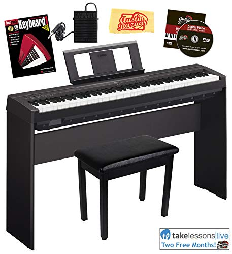 Yamaha P-45 Digital Piano - Black Bundle with Yamaha L-85 Stand, Furniture Bench, Instructional Book, Austin Bazaar Instructional DVD, and Polishing Cloth