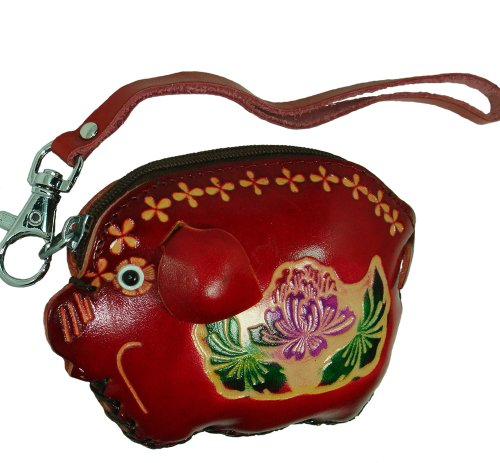 Real Leather Coin/change Purse, a Burgundy Fatty Pig Pattern with a Wirstlet Strap