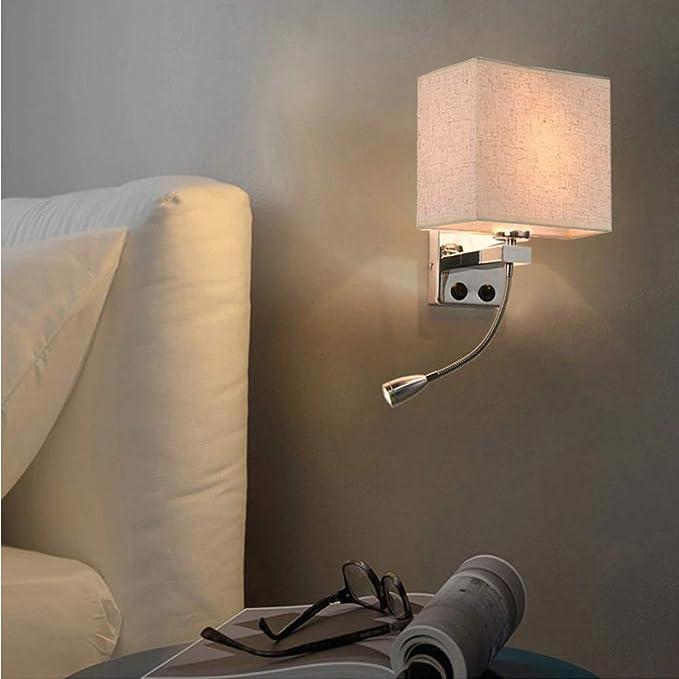 blanc chaud col de sygne interrupteur LED lecture Lampe//mur-éclairage 2 pcs. Chrome