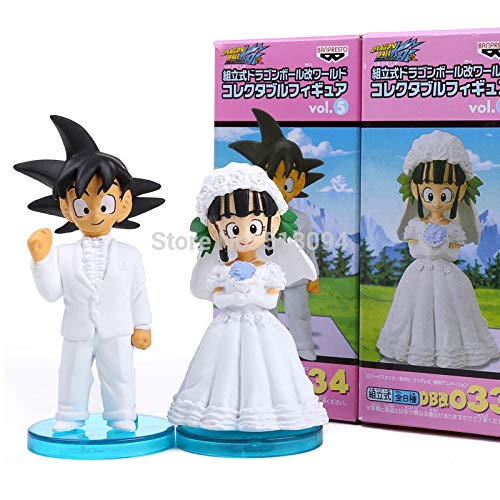 PampasSK Action & Toy Figures - Anime Dragon Ball Z Son Goku & Chichi Wedding PVC Figures Toys Dolls 8cm Set of 2 1 -