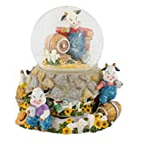 Cow Farmer Milk Barrel 100mm Resin Water Globe Plays Tune Take Me Home, Country Roads