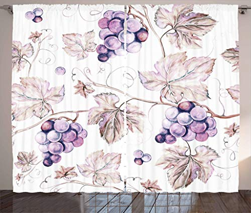Lunarable Vine Curtains, Vintage Drawing Style Hand Drawn Grapes and Detailed Leaves Nature Wine Making Print, Living Room Bedroom Window Drapes 2 Panel Set, 108 W X 84 L Inches, Purple Tan
