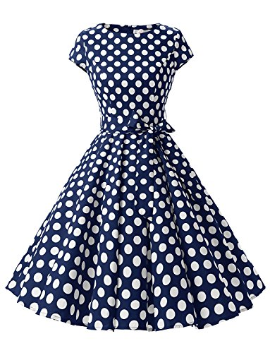 Dressystar DS1956 Women Vintage 1950s Retro Rockabilly Prom Dresses Cap-Sleeve L Navy White Dot B