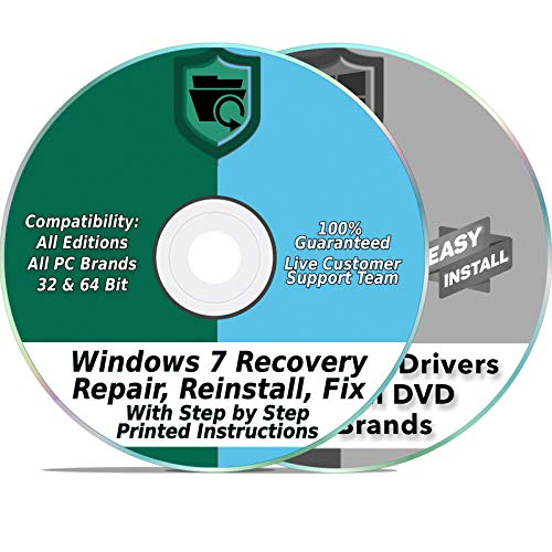 (Windows 7 Compatible Install Reinstall Recovery Repair Disk for 32 & 64-Bit PC Systems + Automatic Drivers 2019 Installation 2 DVD Set | Home Premium & Professional)