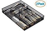 """Halter Steel Mesh Large Silverware Cutlery Tray Organizer with No-Slip Foam Feet - Kitchen Organization/Silverware Storage - 16"""" X 11.25"""" X 2"""" - 2 Pack"""