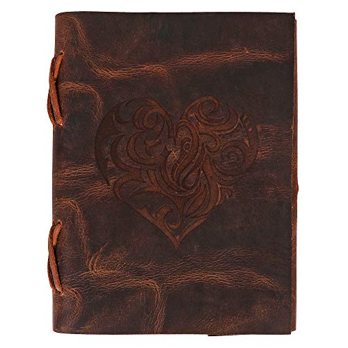 (Heart Leather Journal for Women - Handmade Leather Bound Journal Notebook with Embossed Heart Cover - Love Journal for Daily Drawing & Sketching - Perfect 7 x 5 Inches Size for Travel or Writing)