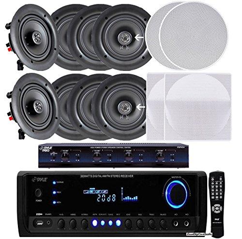 Pyle KTHSP390SV 4-Room In-Wall / In-Ceiling Speaker System, 4 x 150W 5.25