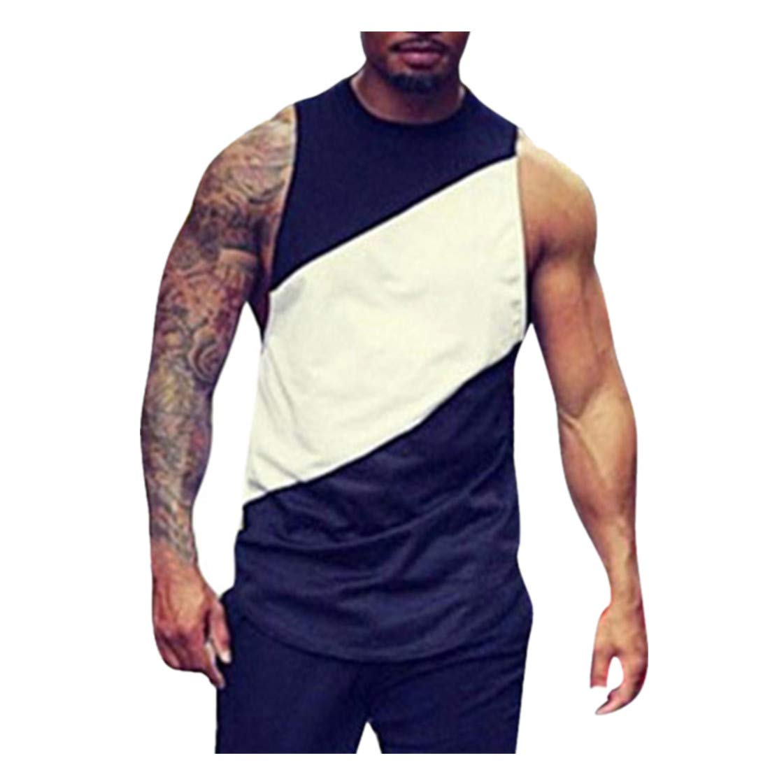 WEUIE Mens Sportswear Personality Men's Summer Autumn Short Sleeved Plaid T Shirt Top Pullover Blouse (S, Black)
