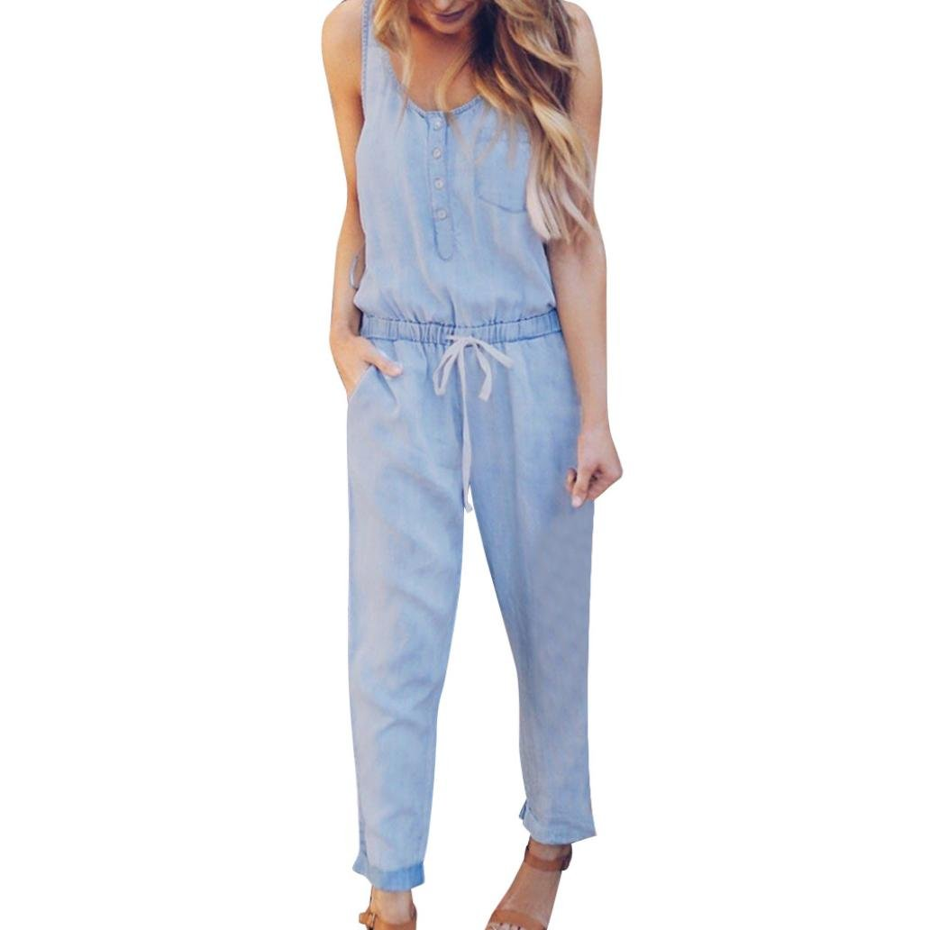 vermers Womens Denim Jumpsuits Summer Holiday Jeans Playsuit Elastic Waist Strappy Long Beach Rompers(L, Light Blue)