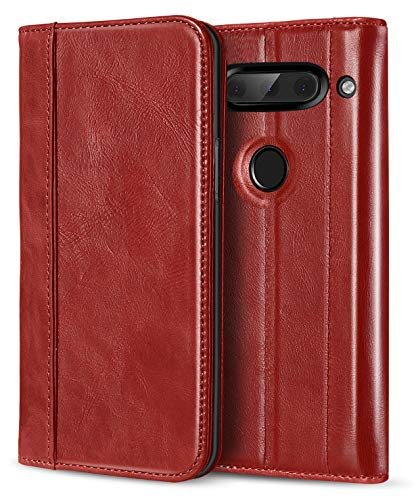 ProCase Genuine Leather Case for LG V40, Vintage Wallet Folding Flip Case with Kickstand Card Holder Protective Cover for LG V40 ThinQ -Red (Case Access Leather Lg Phone)