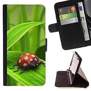 BullDog Case - FOR/Samsung Galaxy S5 Mini, SM-G800 / - / Ladybug Green Leaf /- Monedero de cuero de la PU Llevar cubierta de la caja con el ID Credit Card Slots Flip funda de cuer