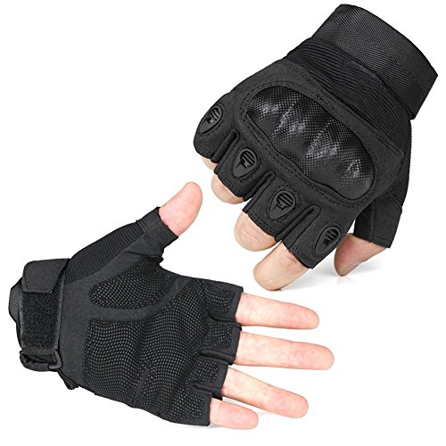 Fantastic Zone Tactical Gloves Hard Knuckle and Foam Protection for Shooting Airsoft Hunting Cycling Motorcycle Gloves Men's Outdoor Half finger Full finger Gloves Black