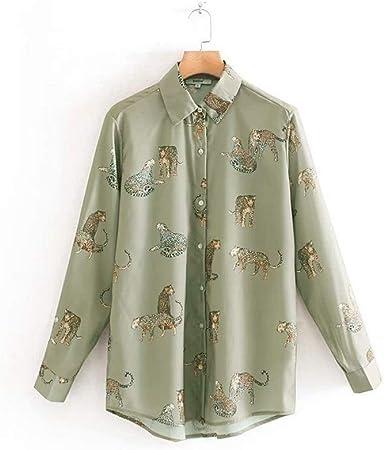 LANGPIAOEZU Hombro de Las Mujeres Cortina De Impresión Camisa Verde Militar Ajuste Flowy (Color : Green, Size : M): Amazon.es: Hogar