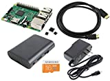 Games&Tech Raspberry Pi 3 Model B Complete Starter Kit with Black Case, 16GB NOOBS Class 10 Micro SD Card, HDMI Cable, 5V 2A Power Supply, and Heatsinks