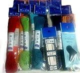 Sashiko Starter Bundle - 12 skeins of Olympus Sashiko Thread, 2 Sashiko Needles, and a Leather Sashiko Thimble