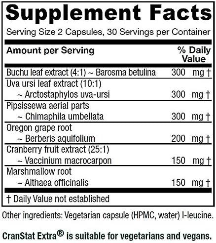 Vitanica Cranstat Extra, Urinary Tract Support, Vegan, 60 Capsules
