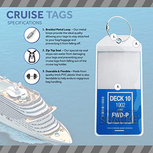 Itinerary Luggage Tags for Cruises - Etag Holders Zip Seal & Steel Loops Thick PVC – 8 Pack by Shacke (Image #1)