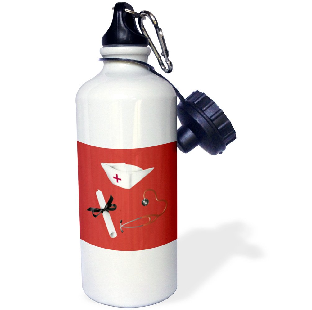 wb/_184093/_1 Red-Sports Water Bottle Diploma and Stethoscope 21oz 3dRose Nurses Cap 21 oz Multicolor