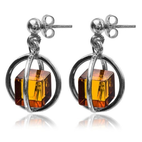 Amber Cube Sterling Silver Millennium Collection Contemporary Perfect Stud Earrings ()