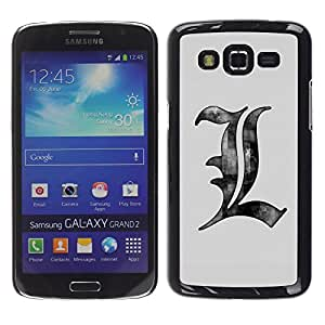Design for Girls Plastic Cover Case FOR Samsung Galaxy Grand 2 L Initial English OBBA