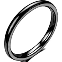Jude Jewelers 2MM Tungsten Carbide Stackable Ring Plain Wedding Band