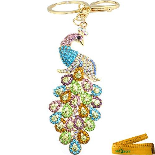 Peacock Crystal Rhinestone Alloy Metal Keychain Key Chain Key Ring Charm ()