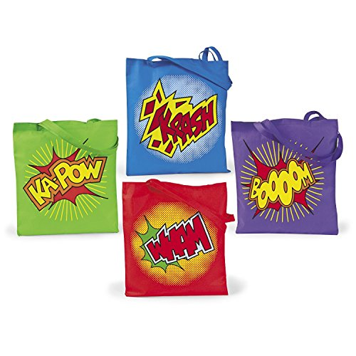 Super Hero Tote Bag - 4 ~ Super Hero Tote Bags / Gift Bags ~ Large 15