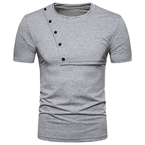 (Sunhusing Mens Solid Color Short Sleeve Stitching Summer Slim Button-Down Decor T-Shirt Personality Top)