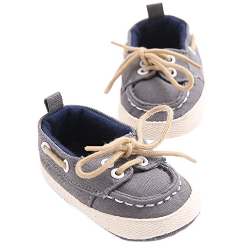 (YOHA Infant Baby Boys Super Soft Cotton Anti-Slip Sole Lace-up Toddler Sneaker Shoes Grey,11)