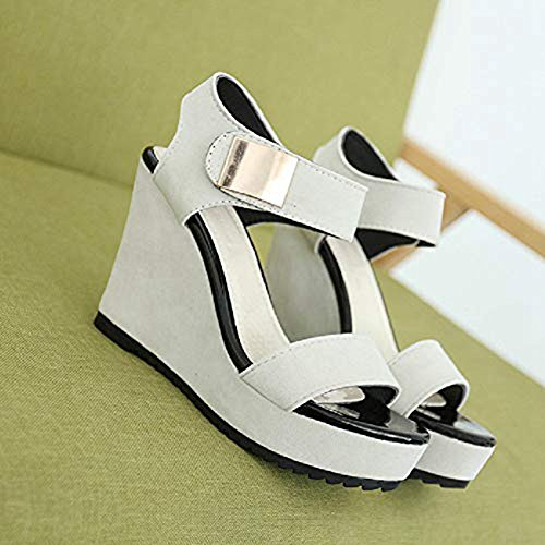Suede Sandals High Sanding Women's Ankle Wedge Pumps White Strap Platform Design Slip Shoes Peep Toe Heel JULY T on HwgEqfEB