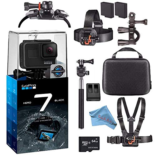 GoPro Hero7 Hero 7 Waterproof Digital Action Camera Advanced Bundle (Black) (Renewed)