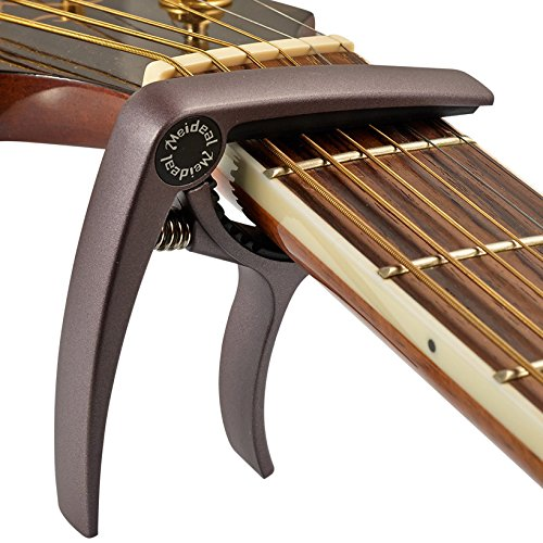 ELEOPTION Guitar Capo Acoustic For Electric Guitars 6 String Acoustic No Fret Buzz Lightweight Aluminum Metal Material Quick Change Guitar Accessories Also for Ukulele Banjo Mandolin (Cafe)