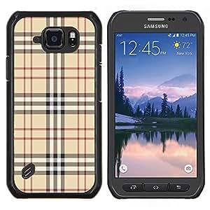 EJOOY---Cubierta de la caja de protección para la piel dura ** Samsung Galaxy S6Active Active G890A ** --Marca Tela estilo de la moda patrón clásico de Brown
