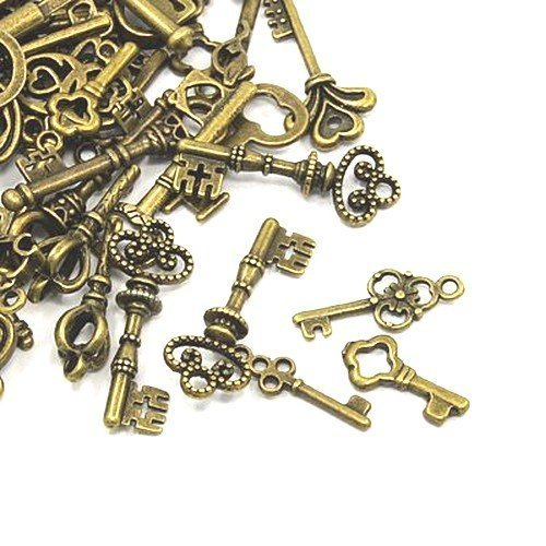 30 Grams Antique Bronze Tibetan Random Shapes & Sizes Charms (Key) - (HA09360) - Charming Beads Something Crafty Ltd