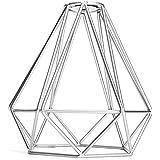 Cage en Métal Forme de Diamant Abat-Jour de Lampe de Plafond Vintage Pendentif Loft Décor - Argent