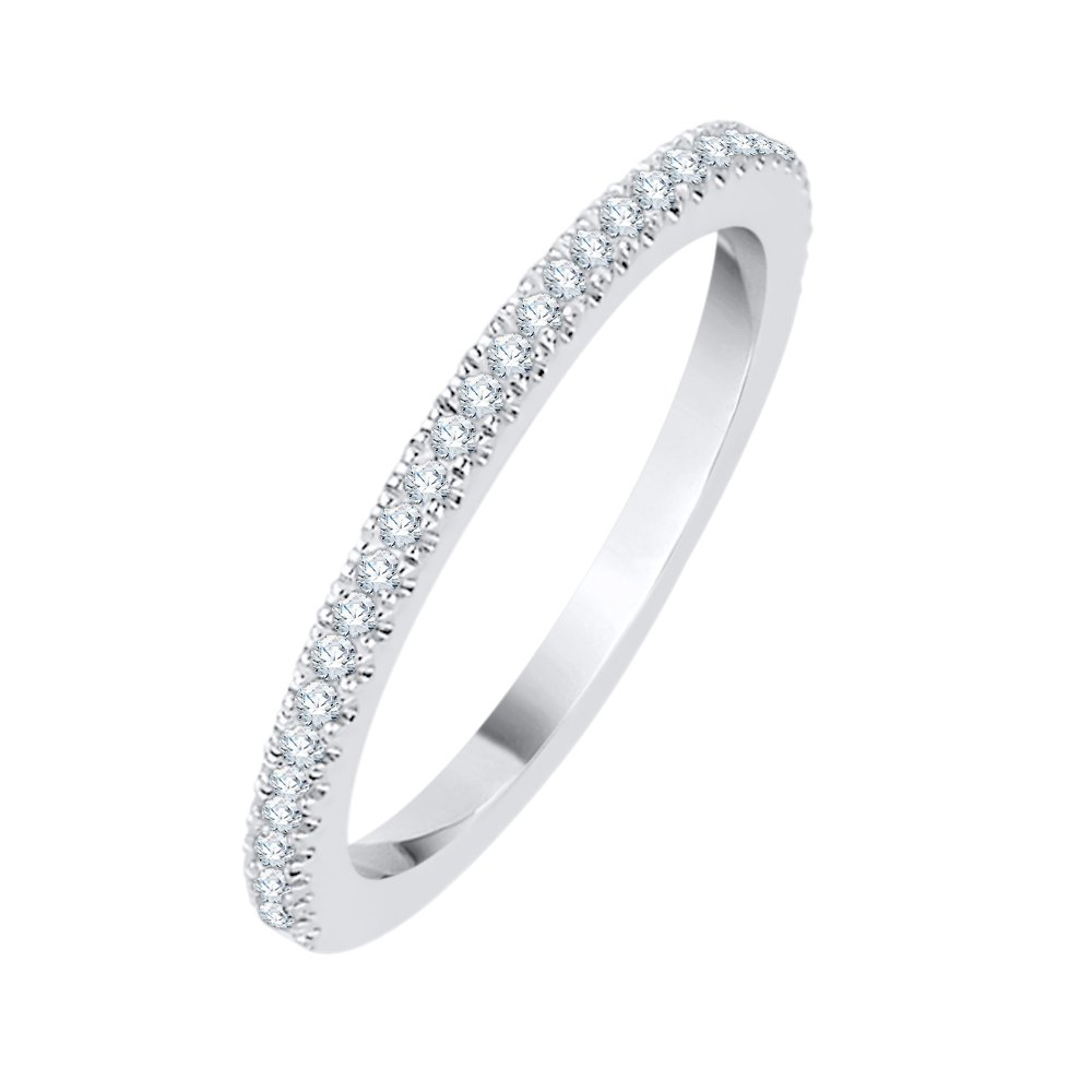Diamond Anniversary Ring in Sterling Silver (1/6 cttw) (GH Color, I2-I3 Clarity) (Size-7.25)