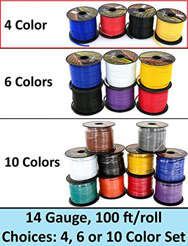 GS Power's 14 Gauge Ga, 4 Rolls of 100 Feet (total of 400 ft) Car Audio Video Primary Remote Turn on Hook up Trailer Wire (Cable Color Set: Black Red Blue Yellow (Black Building Wire Cable)