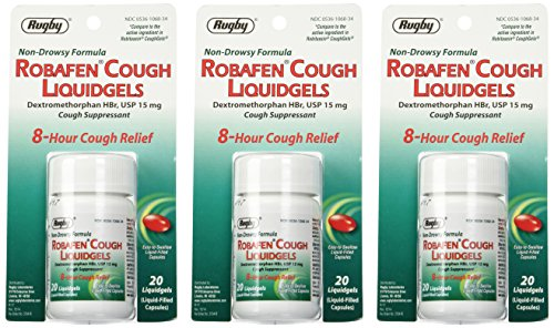 Robafen Cough Liquidgels Dextromethorphan HBr, USP 15mg, 20 Liquidgels (3 Packs) - Suppressant Cough