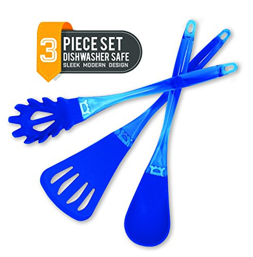 (3-Piece Silicone Kitchen Essentials Utensil Set - Flip, Stir and Serve! Ladle, Pasta Server, and Spatula in Royal Blue. Dishwasher)