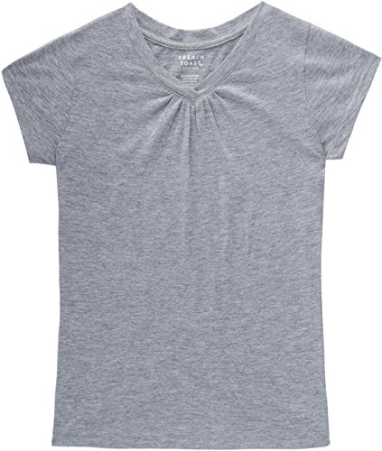 School Short Sleeve Tee - French Toast School Uniform Girls Short Sleeve V-Neck T-Shirt With Front Gathers, Gray, Medium (7/8)