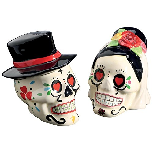 Day of the Dead Bride and Groom Skulls Ceramic Salt and Pepper Shakers]()