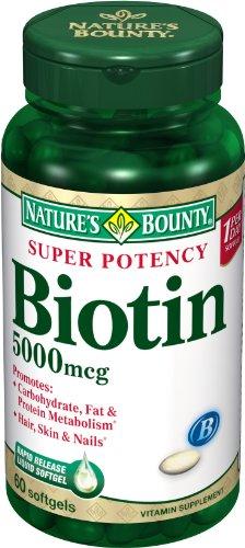 Nature Bounty, biotine superpuissance, 5000mcg, 60-Count (Pack de 2)
