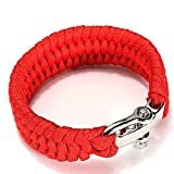 Survival Paracord Bracelet, TRENDINAO New Survival Rope Paracord Bracelet Outdoor Camping Hiking Steel Shackle Buckle (Red)